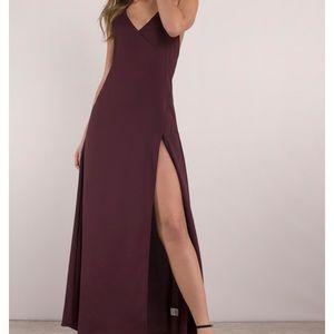 Tobi burgundy high slit maxi dress